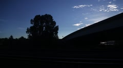 Train View of Silhouettes Stock Footage