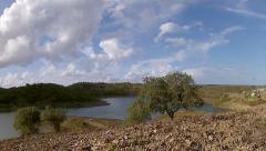 Beliche Dam Pan Timelapse B Stock Footage
