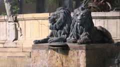 LION ROTUNDA FOUNTAIN, AIX, FRANCE Stock Footage