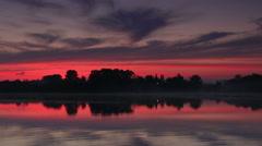 Sunrise over the reservoir in Vyshny Volochyok, Vyshnevolotsk district Stock Footage