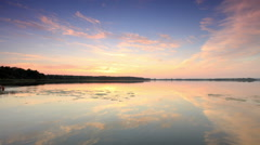 Sunset on the lake Mstino, Vyshnevolotsk district, Tver region, Russia, Full HD. Stock Footage