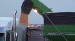 John Deere Tractor Grain Cart and Semi Truck Close Up Stock Footage