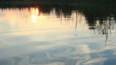 Sunset on the lake Moiseevskoe, Valdaysky district, Novgorod region, Russia Stock Footage