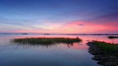 Sunset over the reservoir in Vyshny Volochyok, Vyshnevolotsk district Stock Footage