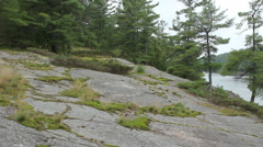 Rocky natural shore of Canadian river. Stock Footage