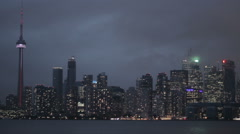 Toronto Skyline On A Cloudy Night Stock Footage
