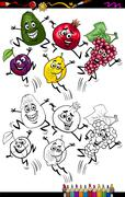 funny fruits cartoon coloring page - stock illustration
