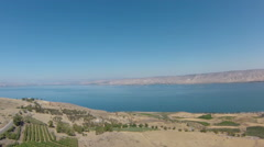 Aerial view of Sea of Galilee, Lake Kinneret, Israel Stock Footage