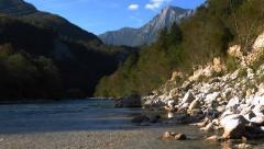 Kayaking in emerald river. - stock footage