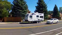Camping Trailer Parked On City Suburban Neighborhood Street Stock Footage