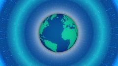 Globe and blue light, loop Stock Footage