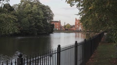 Minster Pool Lichfield Town Centre Fence Streching into the Distance - stock footage