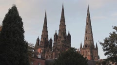 Beautiful Evening Sunset Light on Lichfield Cathedral Stock Footage