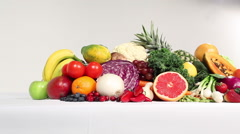 Delicious Fruits and Vegetables Arangement Stock Footage