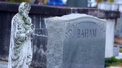 Dolly Shot Creepy Man Statue With Graves in Background Stock Footage