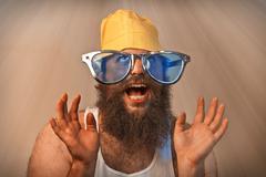 Wacky excited bearded heaven Stock Photos