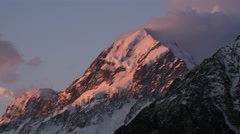 Mt cook sunset Stock Footage