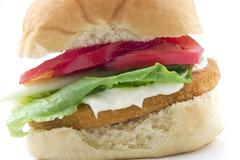 chicken patty sandwich - stock photo