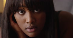 Close up of sultry black woman - stock footage