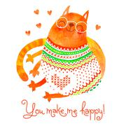 Watercolor hand drawn card with a cute cat. Stock Illustration