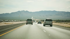 Cars Driving Beautiful America Desert Highway Road Freeway Mountain Horizon - stock footage