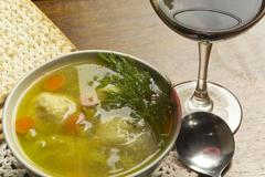 matzoh ball soup - stock photo