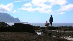 Hawaiian Lava Rock Coast with People Stock Footage