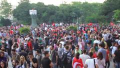 Taksim Gezi Park protest meeting Stock Footage