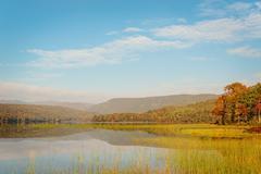 warren lake in the fall - stock photo
