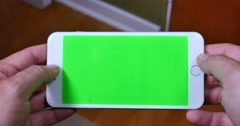 4K Holding Green Screen iPhone Landscape Mode Stock Footage