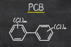Blackboard with the chemical formula of pcb Stock Illustration