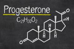 Blackboard with the chemical formula of progesterone Stock Illustration