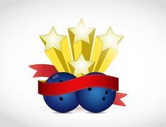 bowling champ ribbon illustration design - stock illustration