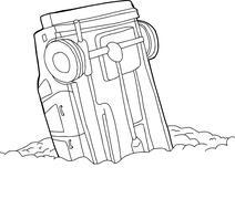 outline of crashed car - stock illustration