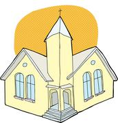church with halo - stock illustration