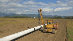 AERIAL: Pipeline construction - stock footage