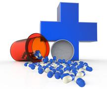 pills spilling out of pill bottle - stock illustration