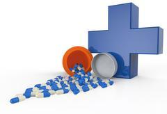 Pills spilling out of pill bottle Stock Illustration