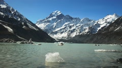 Mt cook and hooker lake ice Stock Footage
