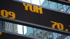Scrolling stock ticker showing quotes Stock Footage