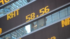 Scrolling stock ticker showing quotes - stock footage