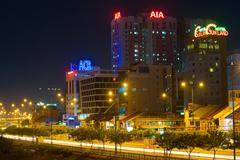 Downtown of saigon at night Stock Photos