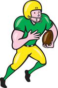 american football receiver running ball cartoon - stock illustration