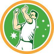 australian cricket fast bowler bowling ball circle cartoon. - stock illustration