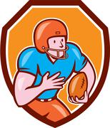 American football receiver running ball shield Stock Illustration