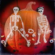 Classic Skeletons Halloween Retro 2 - stock photo