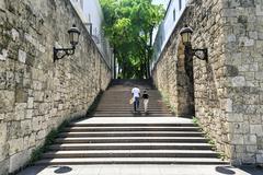 steps of el conde street, santo domingo, dominican republic - stock photo