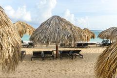 Beach umbrella of palm, dominican republic Stock Photos