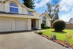 Beautiful house exterior with curb appeal Stock Photos