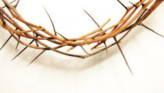 Crown of thorns on white Stock Footage